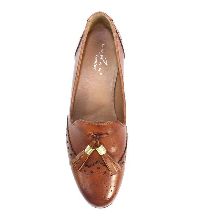 Lunar Ravello | Women's Leather Brogue Loafer In Brown - Available at victoriagraceshoes.com | In Store 01670 511066 Victoria Grace Shoe Collection | Morpeth | 14 SANDERSONS ARCADE, Morpeth NE61 1NS