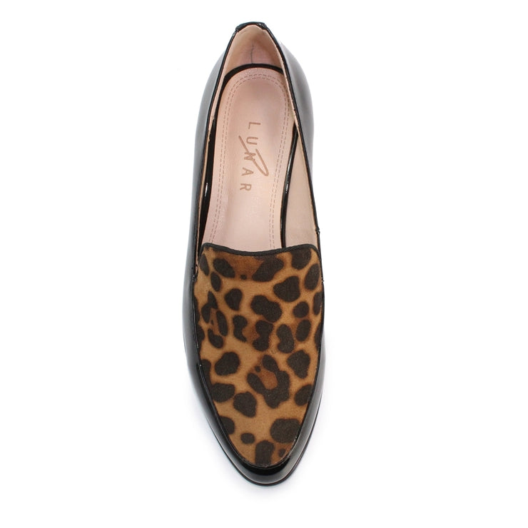 Lunar Reegan Black with Leopard Print Loafer - Available at victoriagraceshoes.com | In Store 01670 511066 Victoria Grace Shoe Collection | Morpeth | 14 SANDERSONS ARCADE, Morpeth NE61 1NS