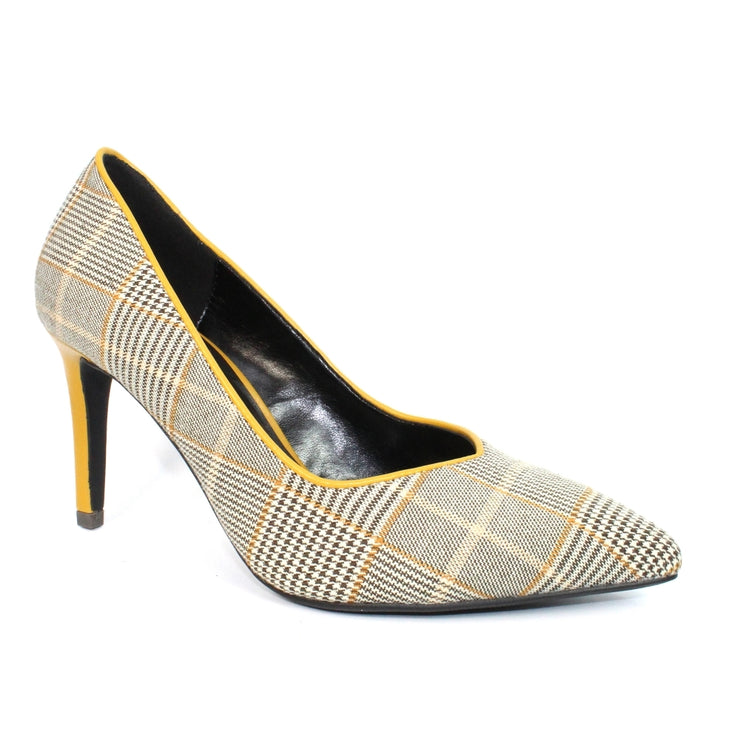 LUNAR Samia | Women's Tartan Print Court Shoe Beige & Yellow