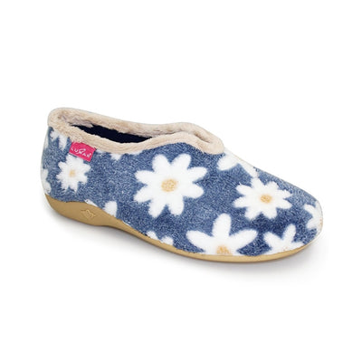 Luna Shoes | Daisy Flower Slipper | Daisy Flower Pattern in Blue Available at victoriagraceshoecollection.com | In Store Victoria Grace Shoe Collection | Morpeth | 14 SANDERSONS ARCADE, Morpeth NE61 1NS