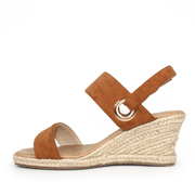LUNAR Tulsa | Women's Faux Suede Wedge Sandal Tan