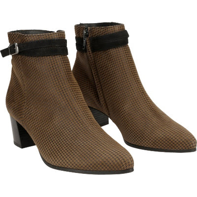 Paul Green, Cognac/Schwarz, brown patterned suede ankle boots