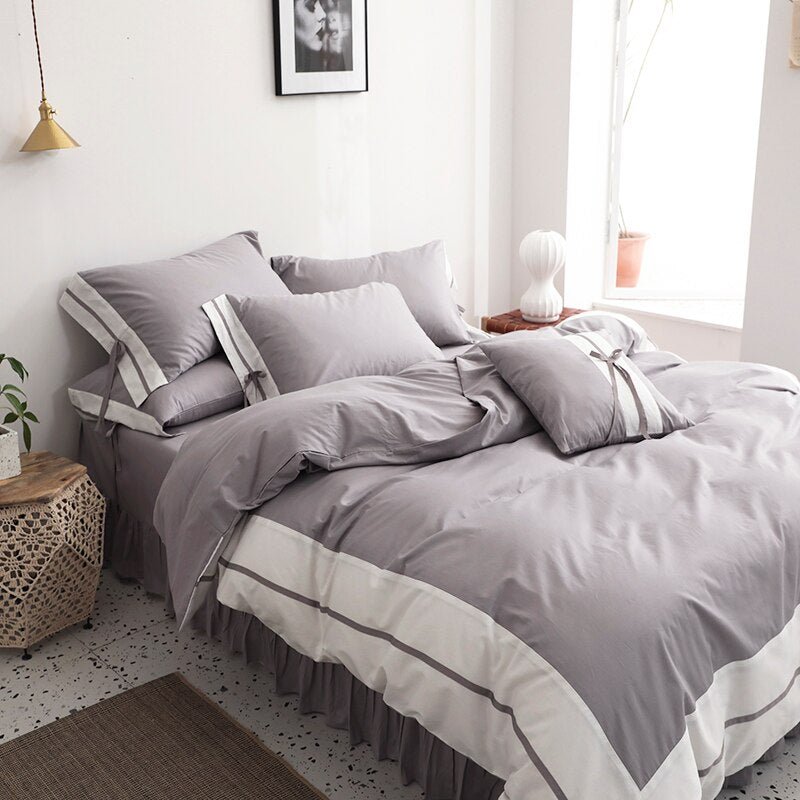 100%Cotton White Gray Shabby Patchwork Bedding set  Ultra Soft Comforter Cover