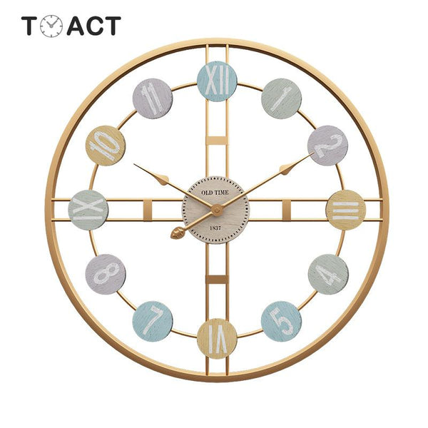 3D Luxury Retro Nordic Silent Wall Clock Metal Roman Numeral For Home Living Room Bar Café Décor