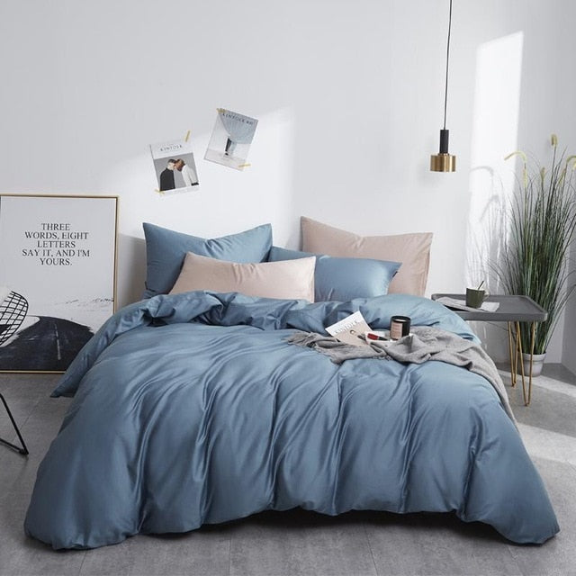 Pure Egyptian Cotton Solid color Reversible Duvet Cover set - HeadlineBedding
