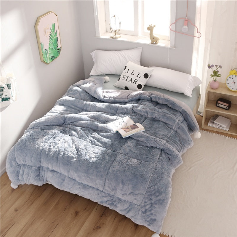 Winter Warm Thick Soft Flannel Silk Wadding Comforter Bedding