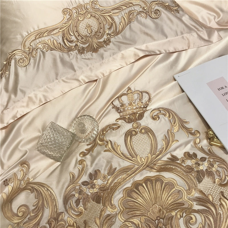 Luxury Champagne Silk Egyptian Cotton Gold Embroidery Bedding Set