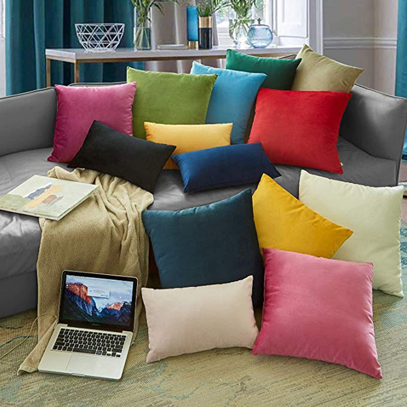 Soft Velvet Cushion Cover Decorative Pillows Throw Pillow Case Soft Solid Colors Luxury Home Decor - HeadlineBedding