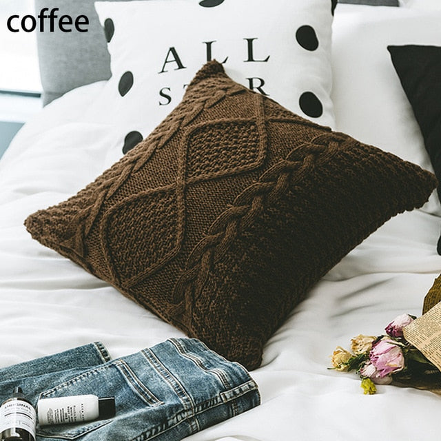 Knitted Pillow Cover Cushion Cover Pillowcase Home