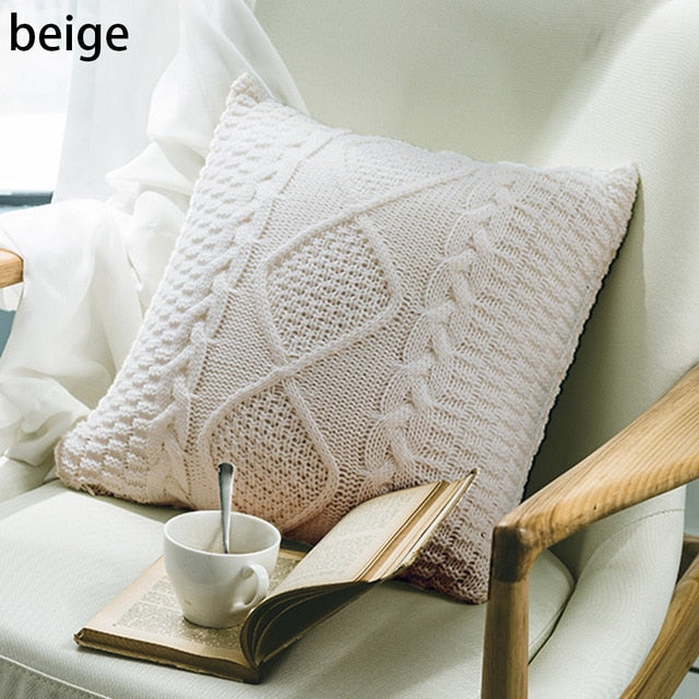 Knitted Pillow Cover Cushion Cover Pillowcase Home - HeadlineBedding