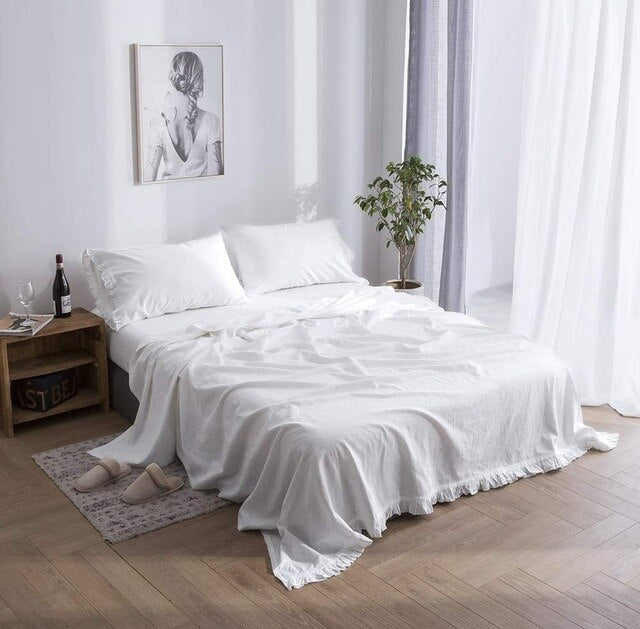 Belgian Linen Flat Sheet with Ruffles 55% Linen 45% Cotton Solid Color French Natural  Soft Bedding