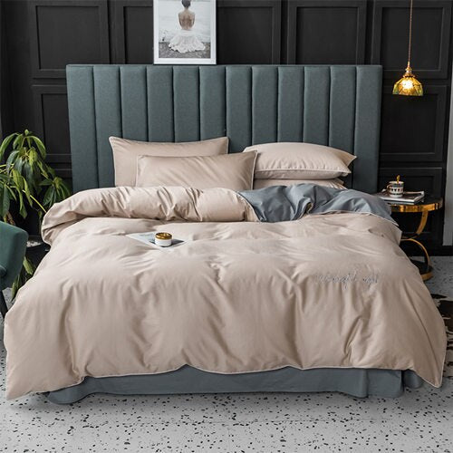 Solid Color 4 Pcs Bedding Set egyptian cotton Bedclothes