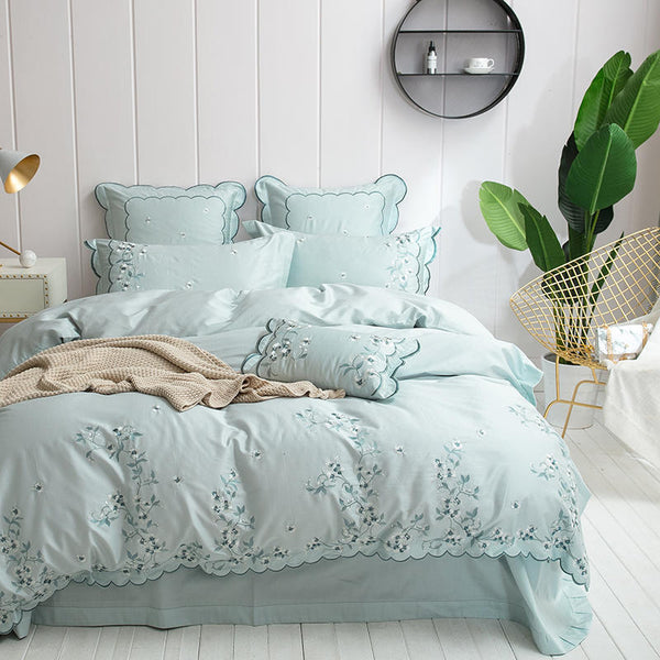 Egyptian Cotton Design Bedding Set Luxury  Embroidered - HeadlineBedding