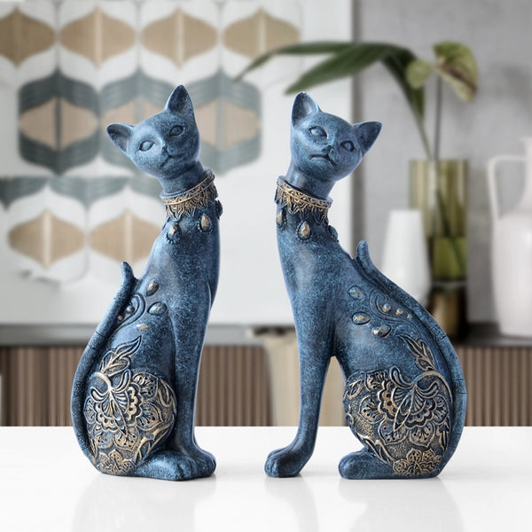 Figurine Cat Decorative Resin statue for home decorations - HeadlineBedding