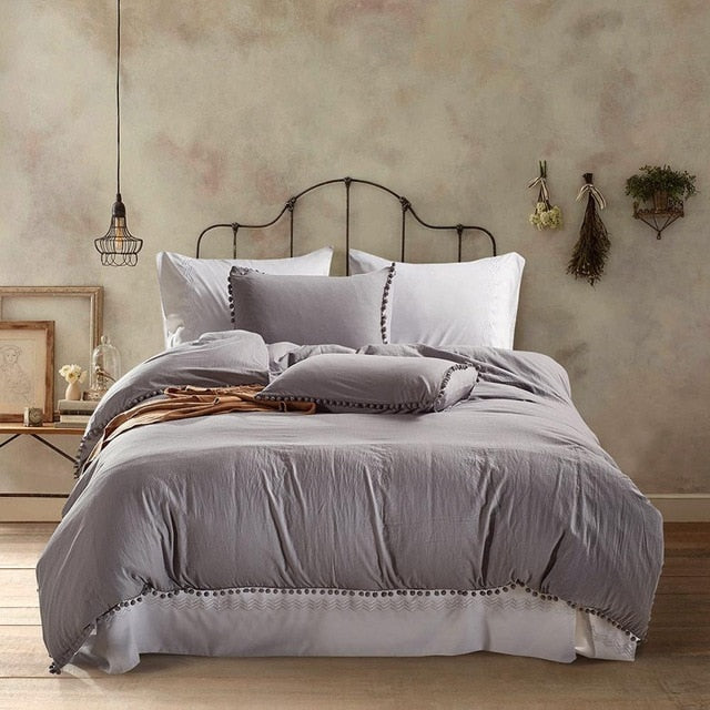 Bedding Sets With Washed Ball Decorative Microfiber Fabric Duvet Cover Pillowcase Comfortable