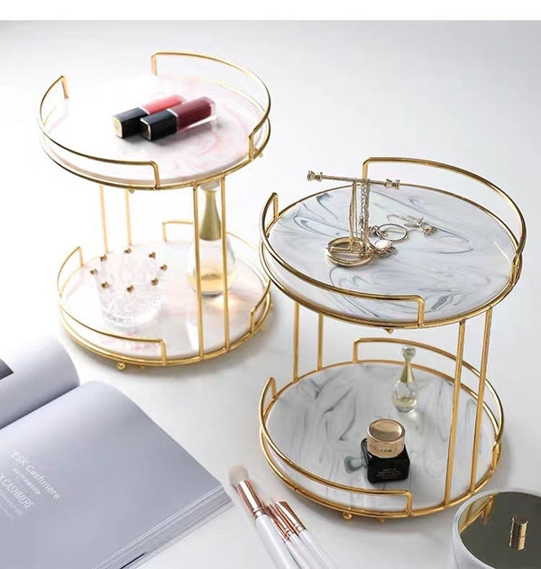 Double-deck Cosmetics Storage Tray Creative Dressing Table - HeadlineBedding