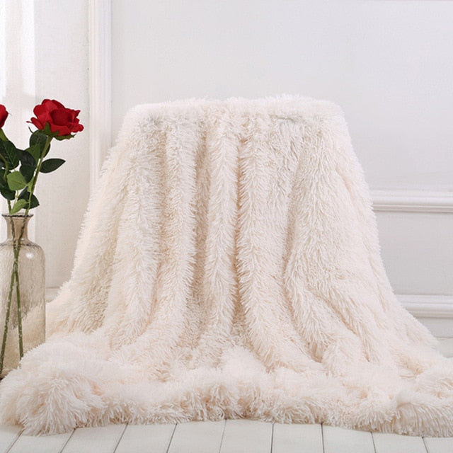 Soft Plush Fuzzy Colorful Decorative Blanket - HeadlineBedding