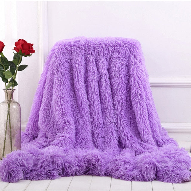 Soft Plush Fuzzy Colorful Decorative Blanket