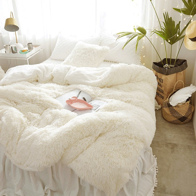 Soft Mink Velvet+Berber Fleece Duvet Cover Girls Bedding Set - HeadlineBedding