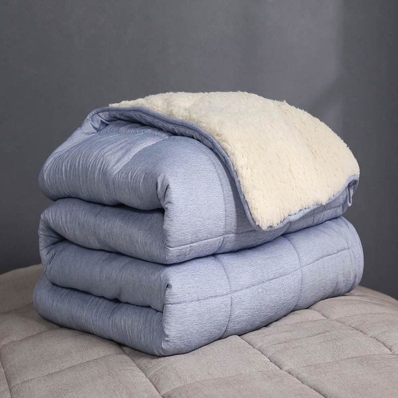 Nordic Solid Quilted Winter Quilt  Blanket Sherpa Berber Fleece Microfiber Double Side Thick Comforter