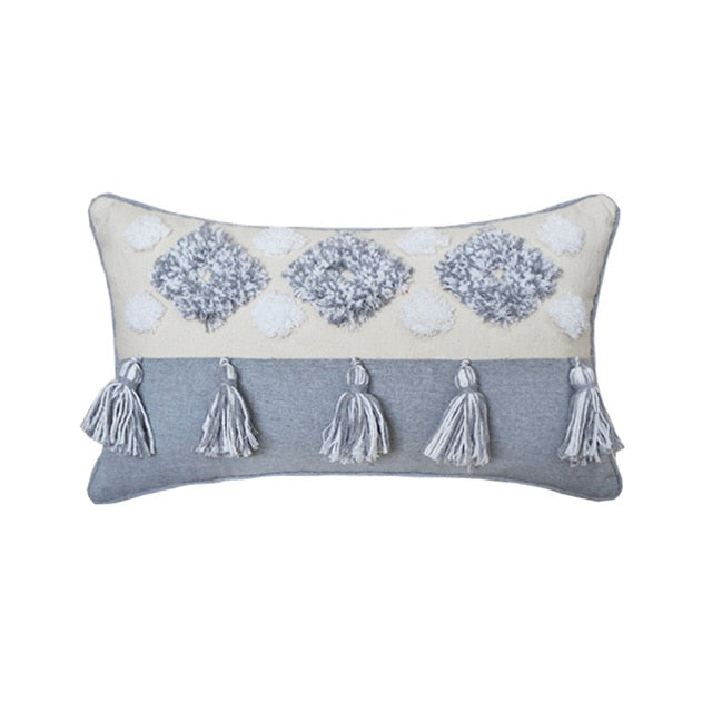Pillow Case Tassels Embroidery Cotton Decorative Pillowcase  Bed Sofa Cushion Cover Macrame Pillow Cover