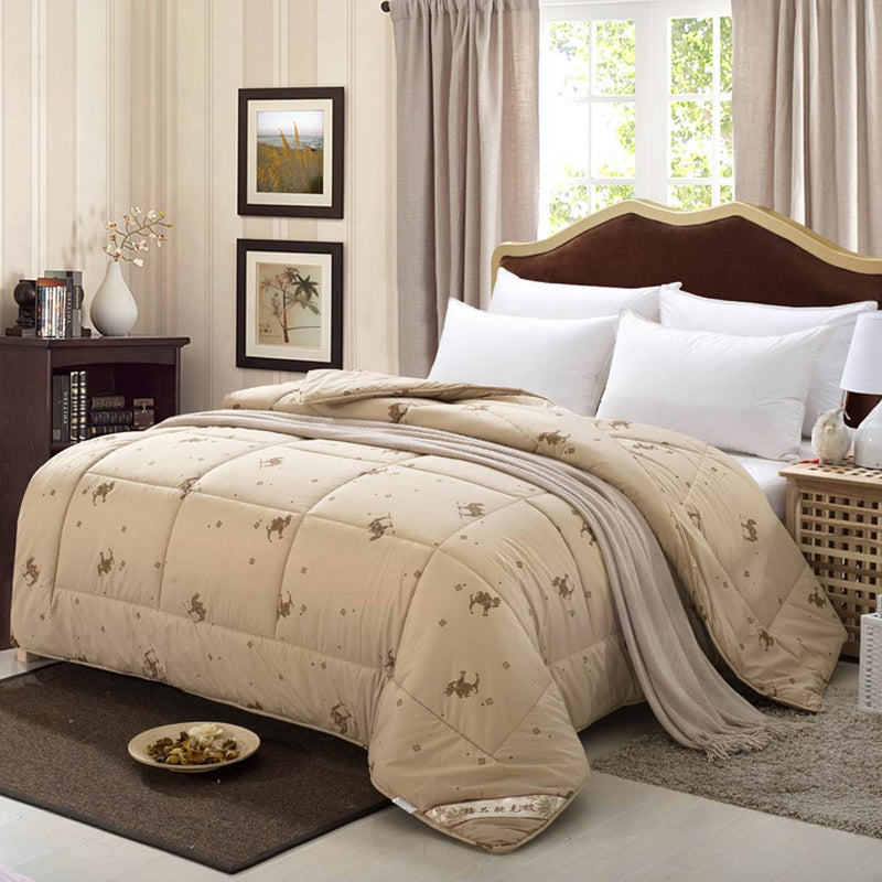 Quilted Blanket Winter Quilt 100% Camel Hair Filler - HeadlineBedding