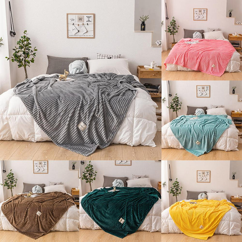 Winter Solid Color Thick Velvet Warm Blanket Flannel Blankets - HeadlineBedding