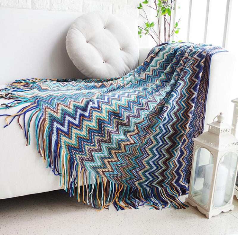 Soft Knitted Travel  Blanket For Bed Sofa Throws