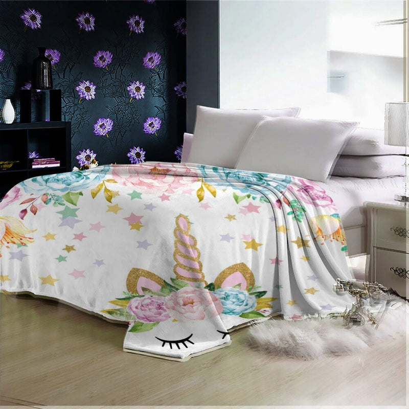 3D Unicorn  For Kids Adults  Blanket