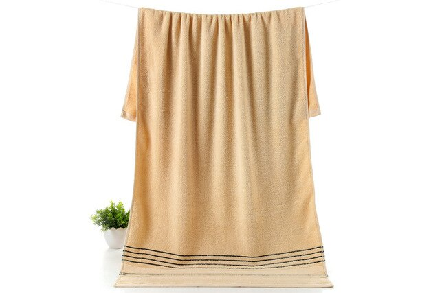 Simple Brown Cotton Absorbent Towel Solid Color - HeadlineBedding