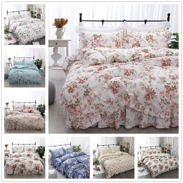 New Garden Flower Printed  Bedding Set Ruffle - HeadlineBedding