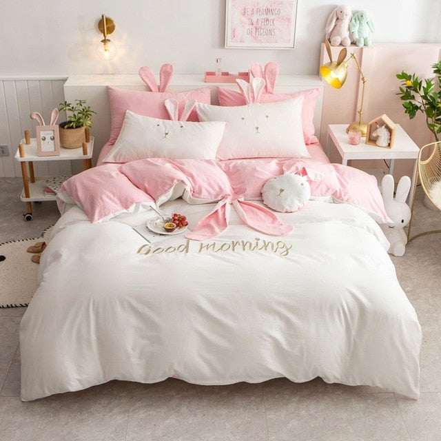 Cute Big Ear Rabbit Embroidery 100% Washed Cotton Girl Bedding Set - HeadlineBedding