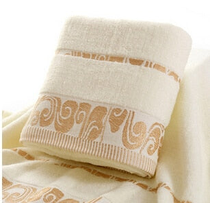 Beige Large Beach Towel  Cloud Pattern Embroidered 100% Cotton - HeadlineBedding