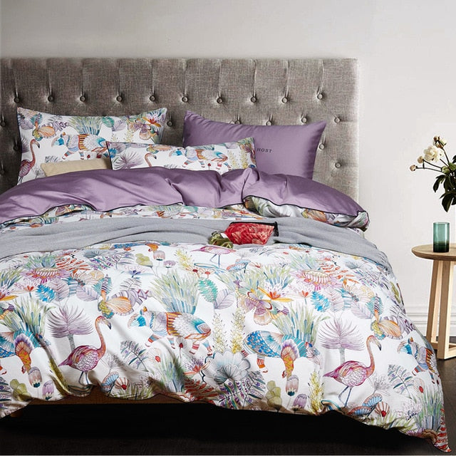 Egyptian Cotton Flower Bird Digital Printing Bedding Sets