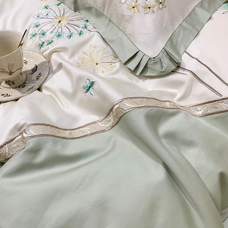 Dandelion Embroidery Egyptian Cotton  Bedding Set - HeadlineBedding
