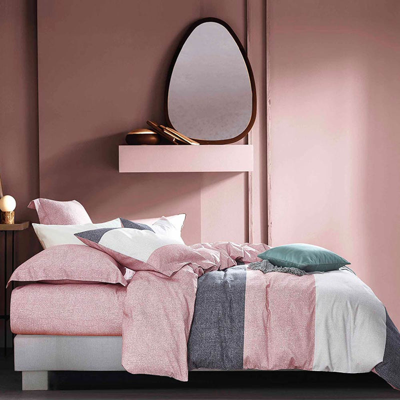 Sanding Cotton Bedding Set Printed Pink - HeadlineBedding