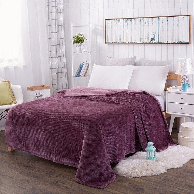 Coral Fleece Thickened Blanket Cover On The Bed - HeadlineBedding