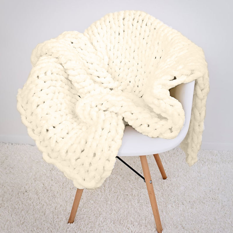 Chenille Chunky Knitted Blanket/Mat