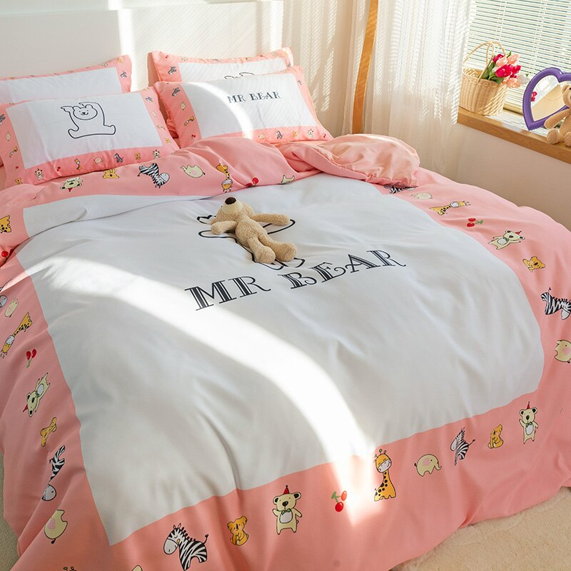Cute Cartoon Toy Bear Bedding Set Animal Print