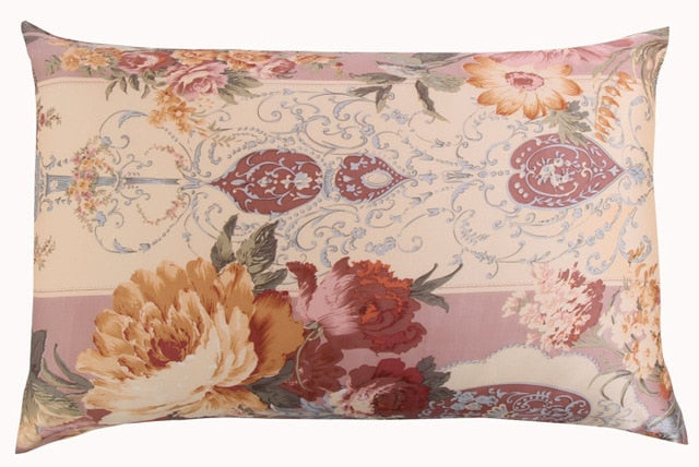 100% nature mulberry floral silk pillowcase - HeadlineBedding