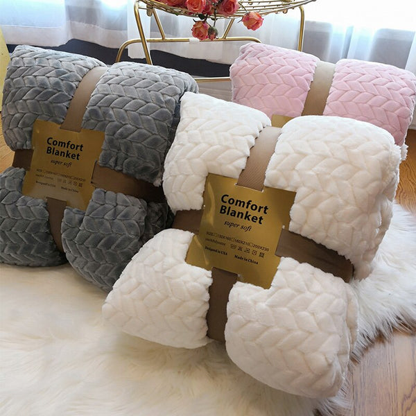 Winter Double Layer Thick Blanket Cashmere Super Soft Warm  Wool Blankets - HeadlineBedding