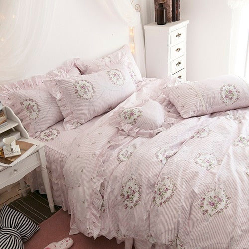 100%Cotton White Pink Floral Girls Princess Bedding Set