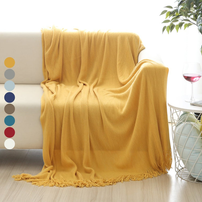 Blanket Woven Knitted With Decorative Fringe - HeadlineBedding