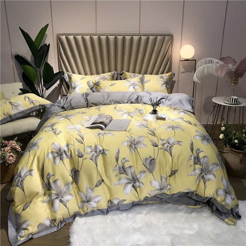 Silk 4Pcs Bedding Set Luxury - HeadlineBedding