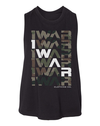 Camo repeater crop tank