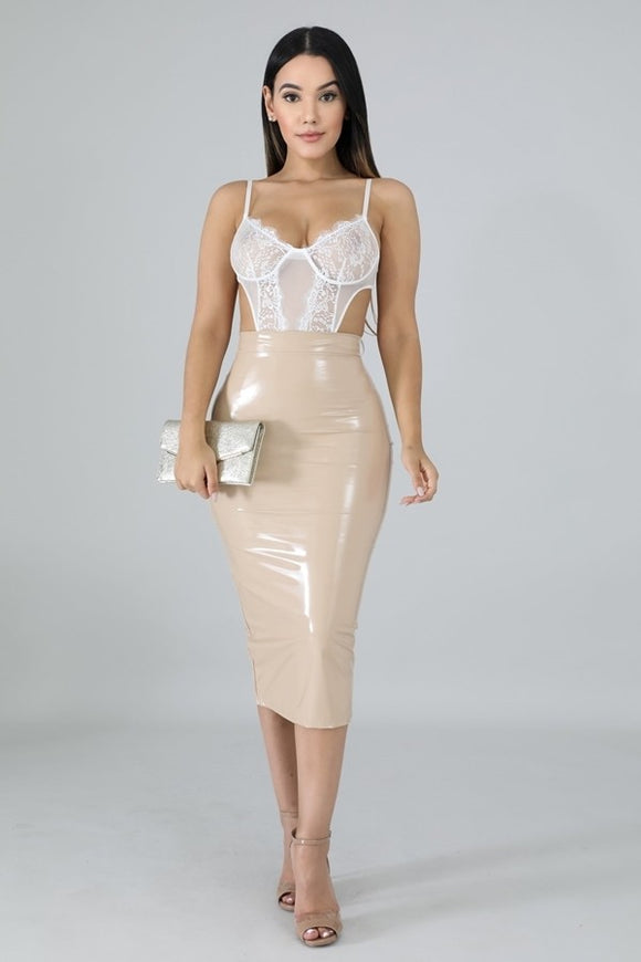 Transparency Nude Latex Skirt