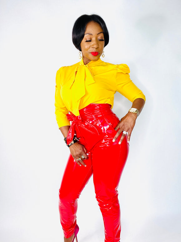 Candy Red Latex High-Waisted Pants