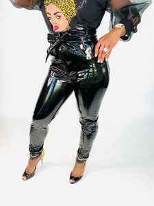 Black Licorice Latex High-Waisted Pants