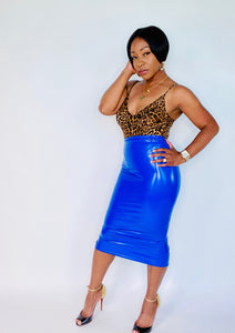 Mrs. Carter Blue Latex Skirt