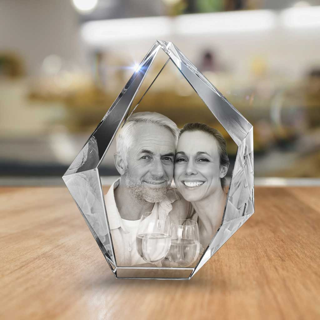 Custom Engraved 3D Photo Crystal Anniversary Prestige - For Couples - XL by The 3D Gift - Laser-Etched